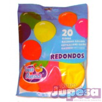 BOLSA 20 GLOBOS REDONDOS COLORES
